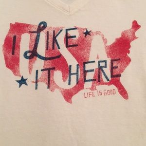 NWT Life is Good USA, I Like it Here T-Shirt